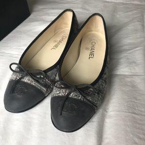 Chanel tweed flats